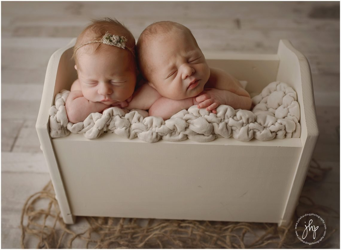 Newborn twin siblings in basket posing